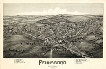 Pennsboro 1899 Bird's Eye View 24x36, Pennsboro 1899 Bird's Eye View